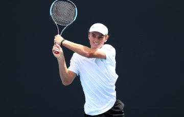 MELBOURNE, AUSTRALIA - DECEMBER 07: Tristan Schoolkate (WA) 18&U Boys competes in his match against Dane Sweeny (QLD) 18&U Boys during the 2019 Australian Open December Showdown at Melbourne Park on December 07, 2019 in Melbourne, Australia. (Photo by Kelly Defina/Getty Images for Tennis Australia)