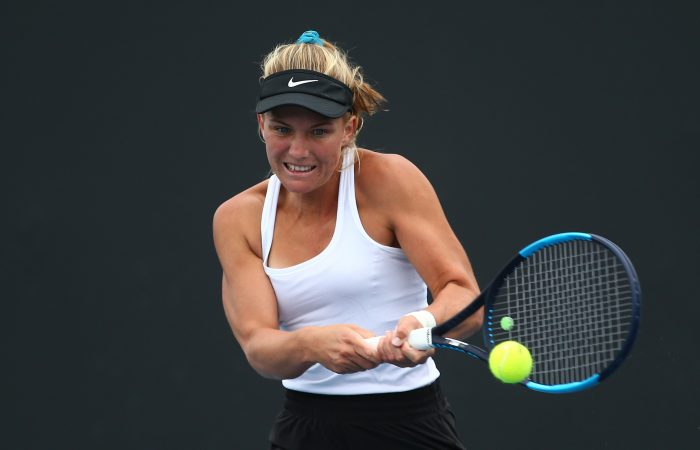MELBOURNE, AUSTRALIA - DECEMBER 10: Maddison Inglis of Western Australia plays a backhand in the Woman's Singles 2019 Australian Open Wildcard Play-Off match against Charlottte Kempenaers-Pocz of South Australia at Melbourne Park on December 10, 2019 in Melbourne, Australia. (Photo by Mike Owen/Getty Images for Tennis Australia)