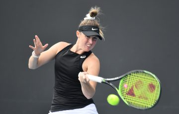 MELBOURNE, AUSTRALIA - DECEMBER 14: Storm Sanders (WA) competes in her match against Abbie Myers (NSW) during the Woman's Singles 2020 Australian Open Wildcard Play-Off at Melbourne Park on December 14, 2019 in Melbourne, Australia. (Photo by Elizabeth Bai/Tennis Australia)
