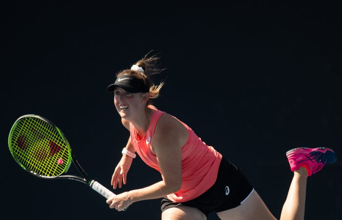 MELBOURNE, AUSTRALIA - DECEMBER 12: Storm Sanders of Western Australia competes in her match against  Destanee Aiava of Victoria during the Woman's Singles 2019 Australian Open Wildcard Play-Off at Melbourne Park on December 12, 2019 in Melbourne, Australia. (Photo by Elizabeth Bai/Tennis Australia)