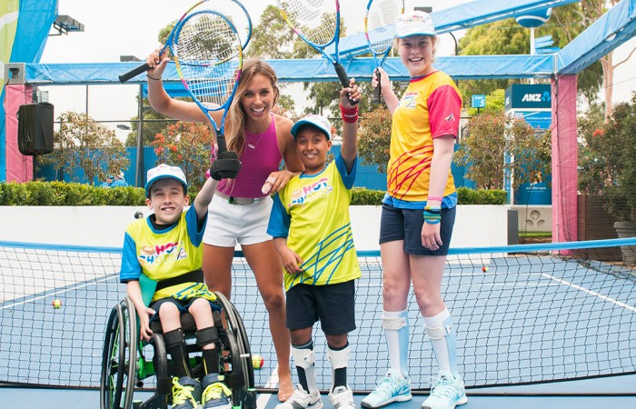 Sally Fitzgibbons enjoys playing Hot Shots with some special young players. JAIMI CHISHOLM