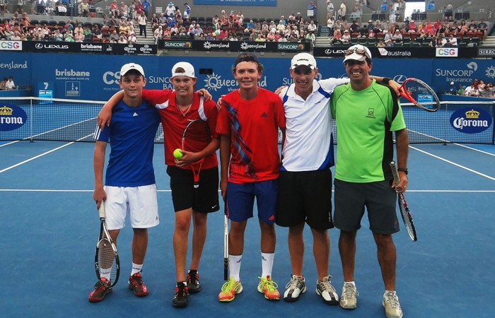 Damian Phillips, Archie Graham, Mitchell James and Joshua Holloway at Pat Rafter Arena.