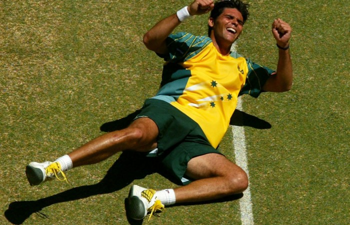 Mark Philippoussis, Davis Cup, Melbourne, 2003. GETTY IMAGES