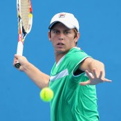 MELBOURNE, AUSTRALIA - DECEMBER 15:  Andrew Whittington of Australia plays a forehand in his first round match against Dane Propoggia of Australia during the 2015 Australian Open play off at Melbourne Park on December 15, 2014 in Melbourne, Australia.  (Photo by Robert Prezioso/Getty Images)
