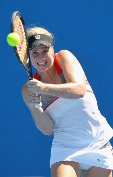 MELBOURNE, AUSTRALIA - DECEMBER 16:   Isabella Holland of Australia plays a backhand in her first round match against Alison Bai of Australia during the 2015 Australian Open play off at Melbourne Park on December 16, 2014 in Melbourne, Australia.  (Photo by Robert Prezioso/Getty Images)