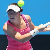 MELBOURNE, AUSTRALIA - DECEMBER 16:  Alexandra Nancarrow of Australia plays a forehand in her first round match against Maddison Inglis of Australia during the 2015 Australian Open play off at Melbourne Park on December 16, 2014 in Melbourne, Australia.  (Photo by Robert Prezioso/Getty Images)