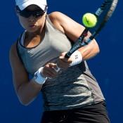 Alison Bai in action during the Australian Open 2015 Play-off; Elizabeth Xue Bai