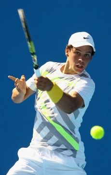 MELBOURNE, AUSTRALIA - JANUARY 23:  Alex Bolt of Australia plays a forehand in his first round juniors match against Bruno Sant'anna of Brazil during day seven of the 2011 Australian Open at Melbourne Park on January 23, 2011 in Melbourne, Australia.  (Photo by Quinn Rooney/Getty Images) *** Local Caption *** Alex Bolt
