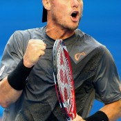 Lleyton Hewitt in action at Australian Open 2015; Getty Images