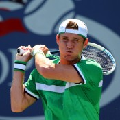 NEW YORK, NY - AUGUST 25:  Matthew Ebden of Australia returns a shot during his Men's Singles first round match against Tobias Kamke of Germany on Day One of the 2014 US Open at the USTA Billie Jean King National Tennis Center on August 25, 2014  in the Flushing neighborhood of the Queens borough of New York City.  (Photo by Elsa/Getty Images)