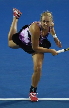 Jess Moore in action at the 2016 Hobart International; Getty Images