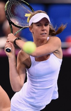 Olivia Rogowska in action at the Australia v Germany Fed Cup 2015 tie in Stuttgart; Getty Images