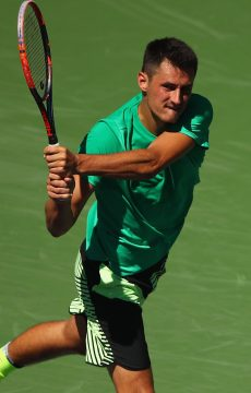 Bernard Tomic in action at Indian Wells in 2017; Getty Images