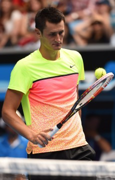 Bernard Tomic in action at Australian Open 2015; Getty Images