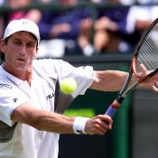 Jason Stolenberg in action against Juan Carlos Ferrero of Spain during the men's second round of Wimbledon. Photo: Gary M. Prior/ALLSPORT