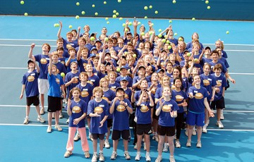 The MLC Ballkid class of 2011 gather for their first training session at Melbourne Park. Tennis Australia