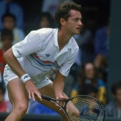 Unseeded Australian tennis player Peter Doohan in action during his second-round match against Boris Becker of West Germany in the Championships at Wimbledon, London, 26 June 1987.  Photo by Roger Gould/Getty Images