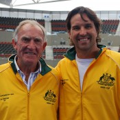 The new Davis Cup team: Tony Roche (left) has returned to the role of Davis Cup coach and Pat Rafter is Australia's new Davis Cup captain. TENNIS AUSTRALIA