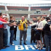 Tony Roche talks to the media. TENNIS AUSTRALIA