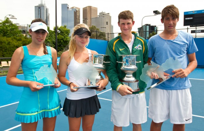 The Optus 14s Australian Championships finalists (l to r): Annabelle Andrinopoulos, Brigitte Beck, Harry Bourchier and Daniel Guccione.