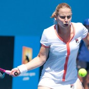 Jelena Dokic vs Viktorija Rajicic in the opening group stages of the Australian Open Wildcard Play-Off. Jason Retchford.