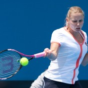 Jelena Dokic in action during the Australian Wildcard Play-off's 2010. Jason Retchford.