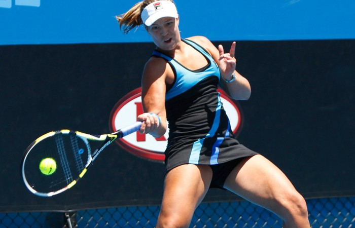 Sophie Ferguson in her first round group match vs Monika Wejnert. Nic Bishop.