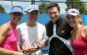 Nic Bradtke, Nathan Brown, Dave Hughes and Anastasia Rodionova enjoy the December Showdown 2010 Pro-Am. TENNIS AUSTRALIA