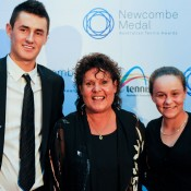 Evonne Goolagong Cawley (centre) poses with Bernard Tomic (left) Ashleigh Barty after presenting them with their Junior Athlete of the Year awards at the Newcombe Medal, Australian Tennis Awards.