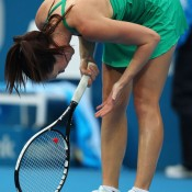 Jelena Jankovic shows her frustration before being bundled out of the first round of the Medibank International Sydney 2011.