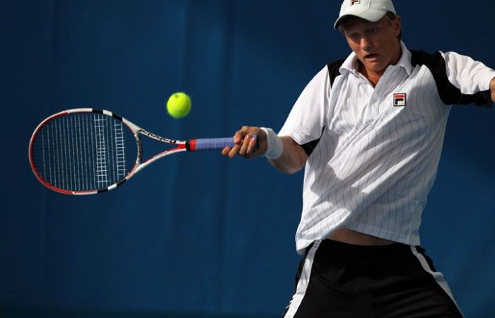 Greg Jones plays a forehand at Brisbane International 2011.
