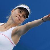 Russian Maria Kirilenko extends herself in her match against Slovakia's Dominika Cibulkova.