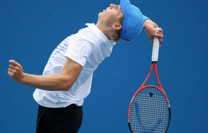 Luke Saville serves during his match at Australian Open 2011 Juniors.