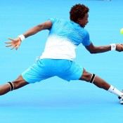 Monfils shows he can do the backwards one-handed flick as well.