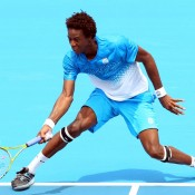 An expert in extension, France's Gael Monfils gets his knees-a-knocking in his victory against Fernando Verdasco.