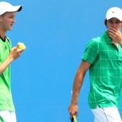Ben Wagland and Andrew Whittington talk tactics at Australian Open 2011.