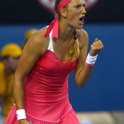 Victoria Azarenka likes the one-foot-forward-and-yell style of self affirmation.