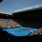 A packed out Rod Laver Arena was delighted by the tennis champs.