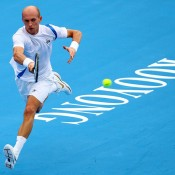 Nikolay Davydenko bounds like a kangaroo at Kooyong.
