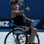 Daniela Di Toro plays a forehand in the Australian Open women's wheelchair final.