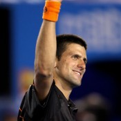 Novak Djokovic goes for a more dictatorial victory pose.