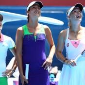 Henin, Ivanovic and Wozkiacki laugh on.
