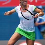 Alicia Molik jumps for joy after her victory against Roberta Vinci.