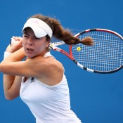 Stefani Stojic plays a backhand in her second match match at the 2011 Australian Open juniors' tournament.