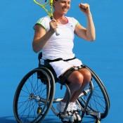 Esther Vergeer celebrates winning the Australian Open women's wheelchair final.