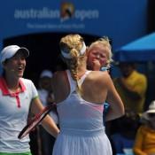 Caroline Wozniacki comforts Cruz Hewitt whilst Justine Henin has a chuckle.