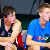 Andrew Whittington and Ben Wagland take a break. Tennis Australia.