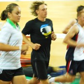 Ashleigh Barty keeps up the pace during a beep test at the AIS. Tennis Australia.