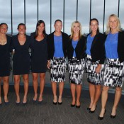 The Italian and Australian Fed Cup teams pose together before the official dinner in Hobart. TENNIS AUSTRALIA