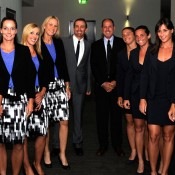 The Italian and Australian Fed Cup teams pose together before the official dinner in Hobart. DAVID CLIFFORD